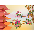 banner on the background of sakura blossoms vector image vector image