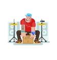 Stylish drummer play on cajon vector image vector image