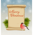 Bullfinch and vintage scroll vector image vector image