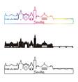 Seville V2 skyline linear style with rainbow vector image
