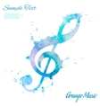 Treble clef watercolor vector image