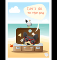 Enjoy tropical summer holiday with little dog vector image