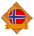 norway flag on wooden board vector image