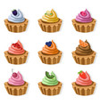 tartlets colorful desserts delicious vector image