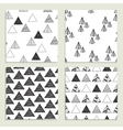 Set of eamless hand-drawn triangles pattern vector image
