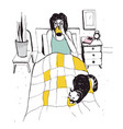 woman with cat on the bed hand drawn vector image