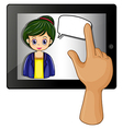 A lady inside a gadget with a rectangular callout vector image vector image