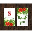 cards with tropical leaves and flowers vector image