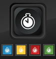 The stopwatch icon symbol Set of five colorful vector image
