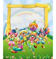 Border design with many clowns vector image vector image