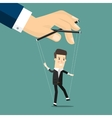 Businessman marionette on ropes controlled hand vector image