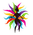 carnival party card with samba dancer and colorful vector image