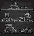 fruit smoothie bar shelf hand drawn in fl vector image