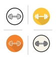 Gym dumbbell flat design linear and color icons vector image