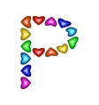 Letter P made of multicolored hearts vector image