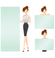 Woman showing blank signs set vector image