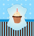 Vintage winter card with cream cake and candle vector image