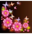 Abstract background with exotic flower and vector image