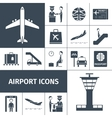 Airport Icons Black Set vector image