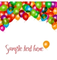 Balloons frame composition on white vector image