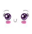 colorful cute facial expression kawaii vector image