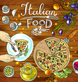 decorative food- beautiful hand-draw pizza and vector image