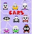 Kawaii cute icons such as car bus train tram vector image
