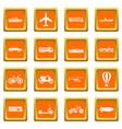 transportation icons set orange vector image