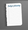 white sheet with inscription budget planning leaf vector image