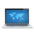 Laptop with World map on screen vector image