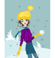 snow girl vector image vector image