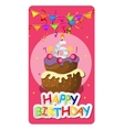 Happy Birthday Card Baner Background with Cake vector image