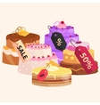 confectionery shop Sale Set of sweets cakes vector image