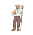 male farmer in boots and wide-brimmed straw hat vector image
