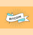 poster with ribbon and word bitcoin vector image