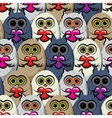 Seamless pattern colorful owls with hearts vector image