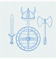 viking warrior set - shield sword axe and horned vector image