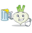 with juice turnip mascot cartoon style vector image