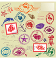 Sea and tropical elements - rubber stamps collecti vector image vector image