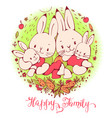 cartoon bunnies family vector image vector image