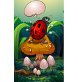 A bug above a mushroom with an empty callout vector image