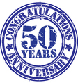 Congratulations 50 years anniversary grunge rubber vector image