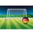 A soccer ball near the net with the flag of vector image vector image