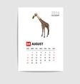 2016 August calendar giraffe polygon vector image