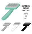 brush for animal fur icon in cartoon style vector image