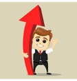 business man smile and stay with red big vector image