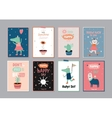 Cute scandinavian set of greeting cards vector image