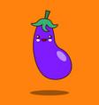cute vegetable cartoon character eggplant icon vector image