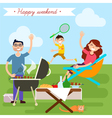 Family Weekend Happy Family Barbecue Party vector image