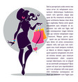 fashionable girl silhouette with shopping bag for vector image
